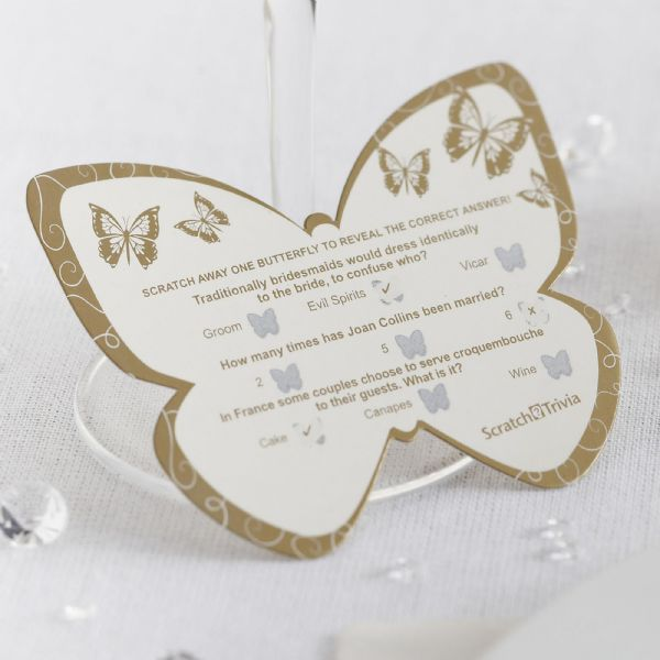 Elegant Butterfly Scratch Card Trivia - Ivory & Gold (10)